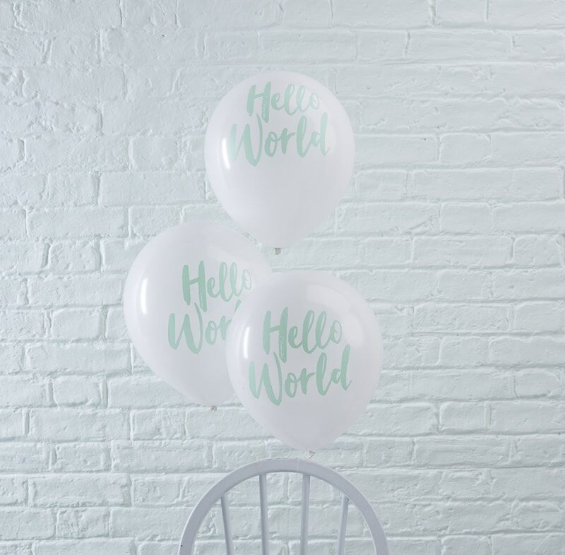 Mint Hello World Baby Shower Balloons