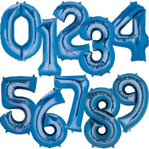 Large Blue Foil Number Balloons 34""