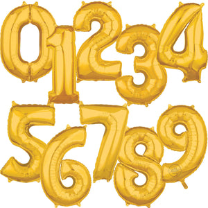 Large Gold Foil Number Balloons 34""