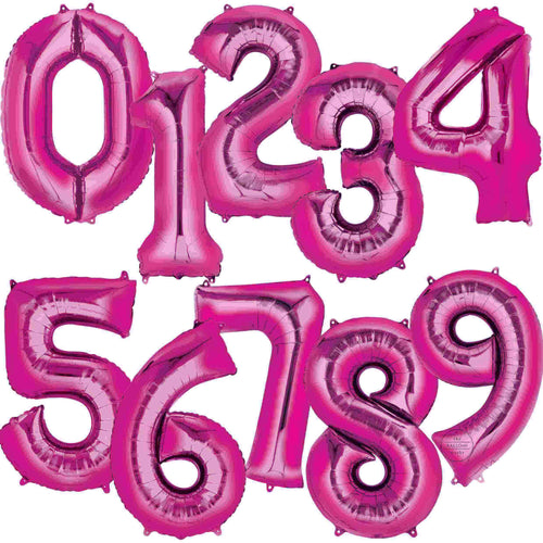 Large Pink Foil Number Balloons 34