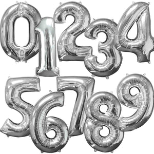Large Silver Foil Number Balloons 34""