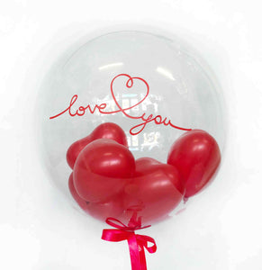 Clear Love You Balloon with Little Hearts
