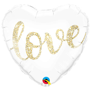 Love Heart with Gold Glitter Balloon