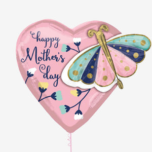 Mother's Day Heart & Butterfly Foil Balloon