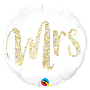 "Mrs. Glitter Gold 18"" Foil Balloon"
