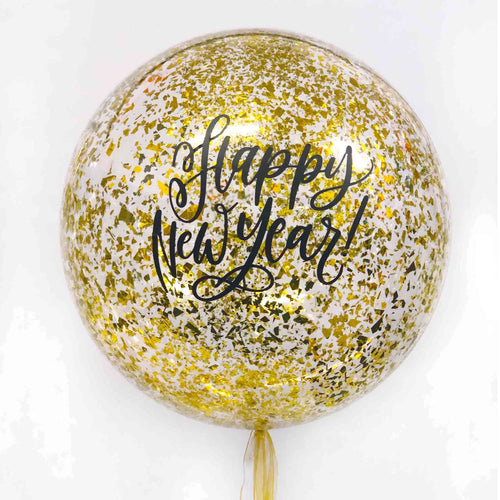 Happy New Year Confetti Clear Balloon