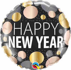 "Happy New Year Dots 18"" Foil Balloon"