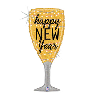 New Year Holographic Champagne Glass Foil Balloon