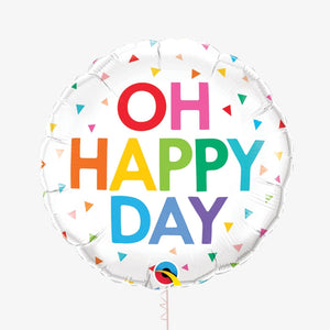 "Oh Happy Day Rainbow Confetti 18"" Round Balloon"