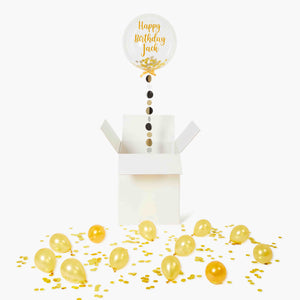 Gold Clear Confetti Balloon in a Box