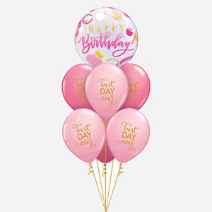 Best Day Ever Pink Bubble Birthday Balloon Bouquet