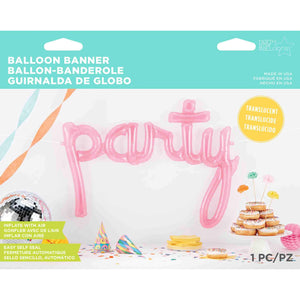 Neon Pink Party Script Balloon Banner