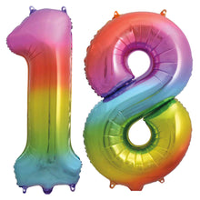 Rainbow Foil Number Balloons 34""