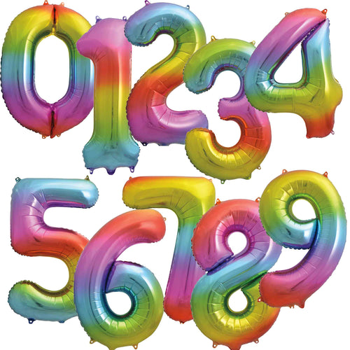 Rainbow Foil Number Balloons 34