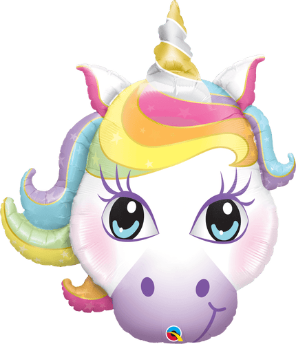 Pastel Rainbow Unicorn Face Balloon