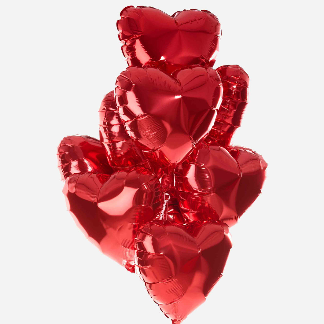 12 Red Hearts Balloon Bouquet