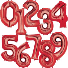 Large Red Foil Number Balloons 34""
