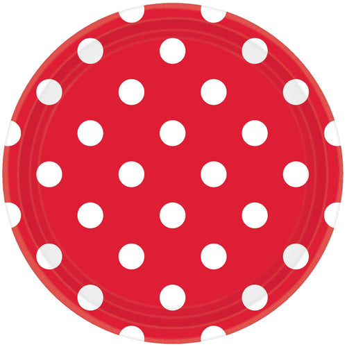 Apple Red Dots Paper Plates (8 pack)