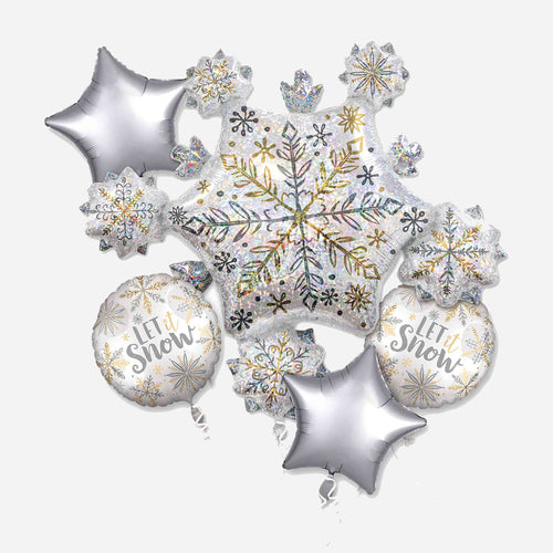 Shining Snow Foil Balloon Bouquet