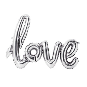 Silver Love Script Balloon