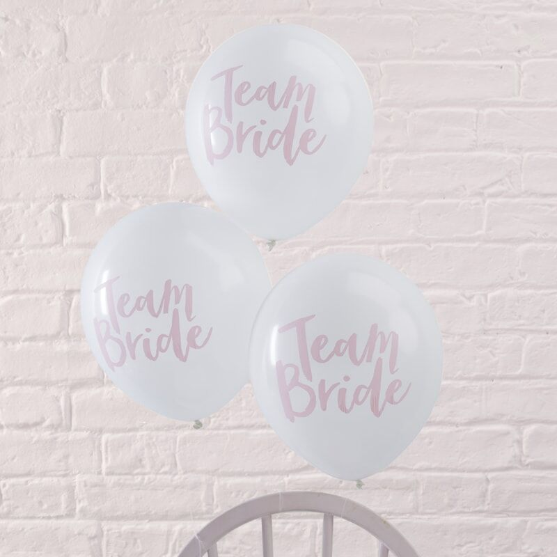 Team Bride Pink & White Hen Party Balloons