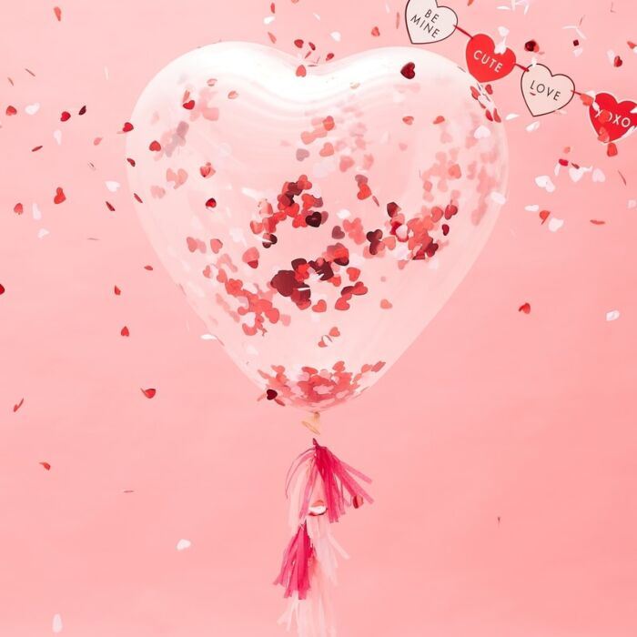 Giant Heart Inflated Shaped Confetti Balloon