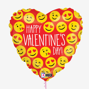 Happy Valentines Emoji Foil Balloon