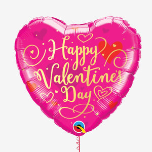 Valentine's Day Gold Script Heart Foil Balloon