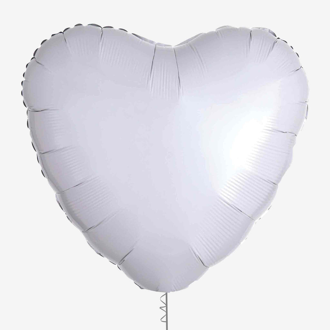 White Heart Foil Balloon
