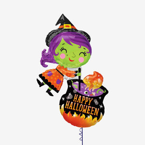 Halloween Witch & Cauldron Foil Balloon