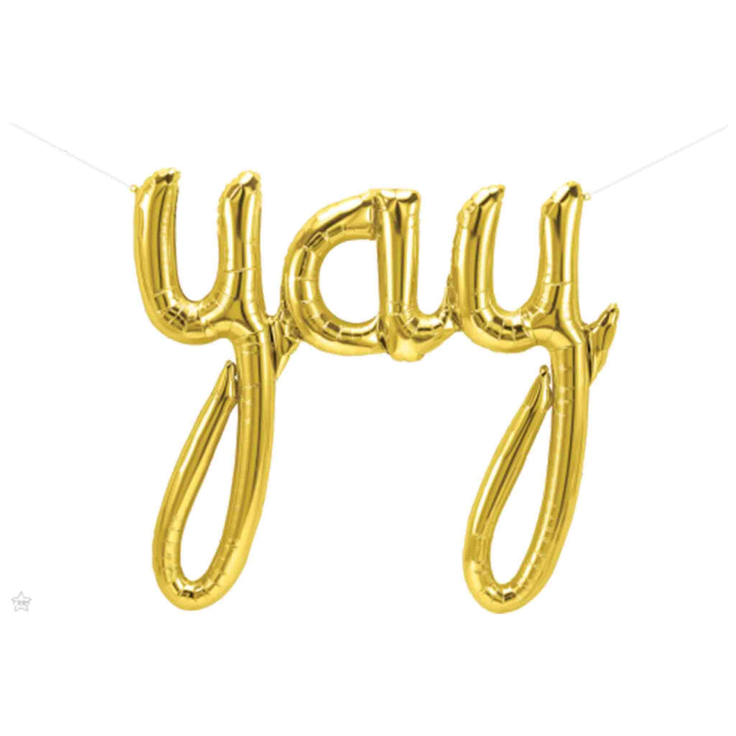Gold YAY Script Balloon Banner