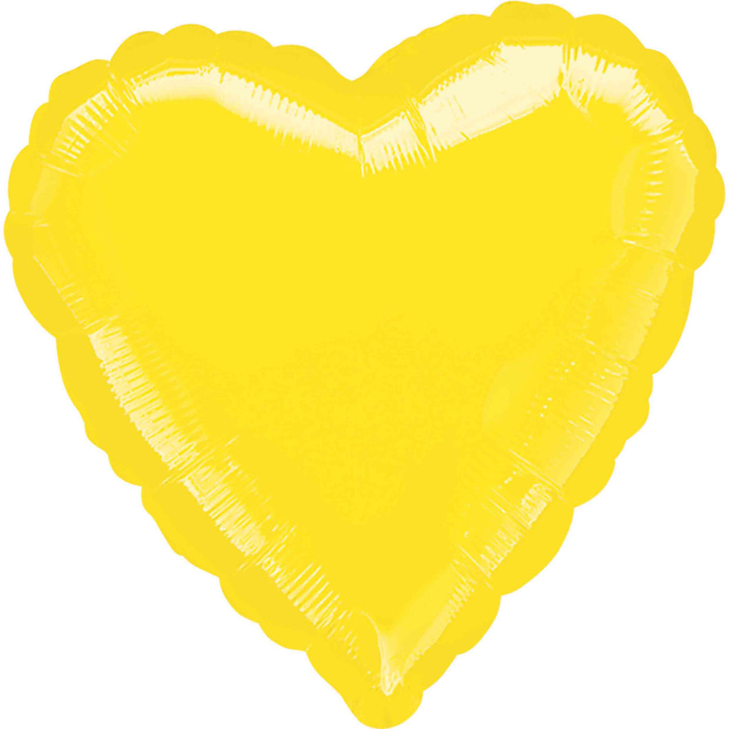 Yellow Heart Foil Balloon