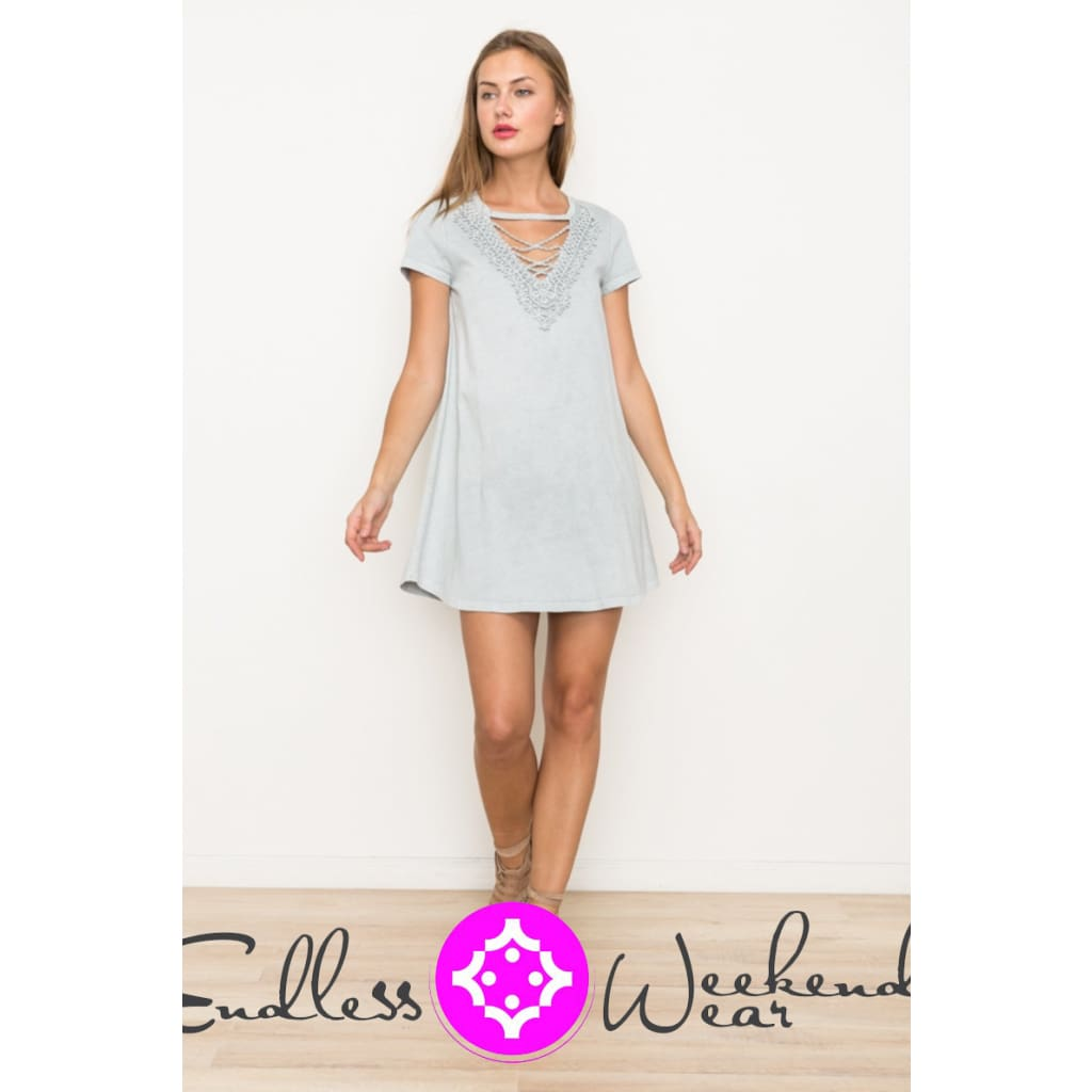 Ashed Blue Lace Front Short Sleeve Dress - Dress