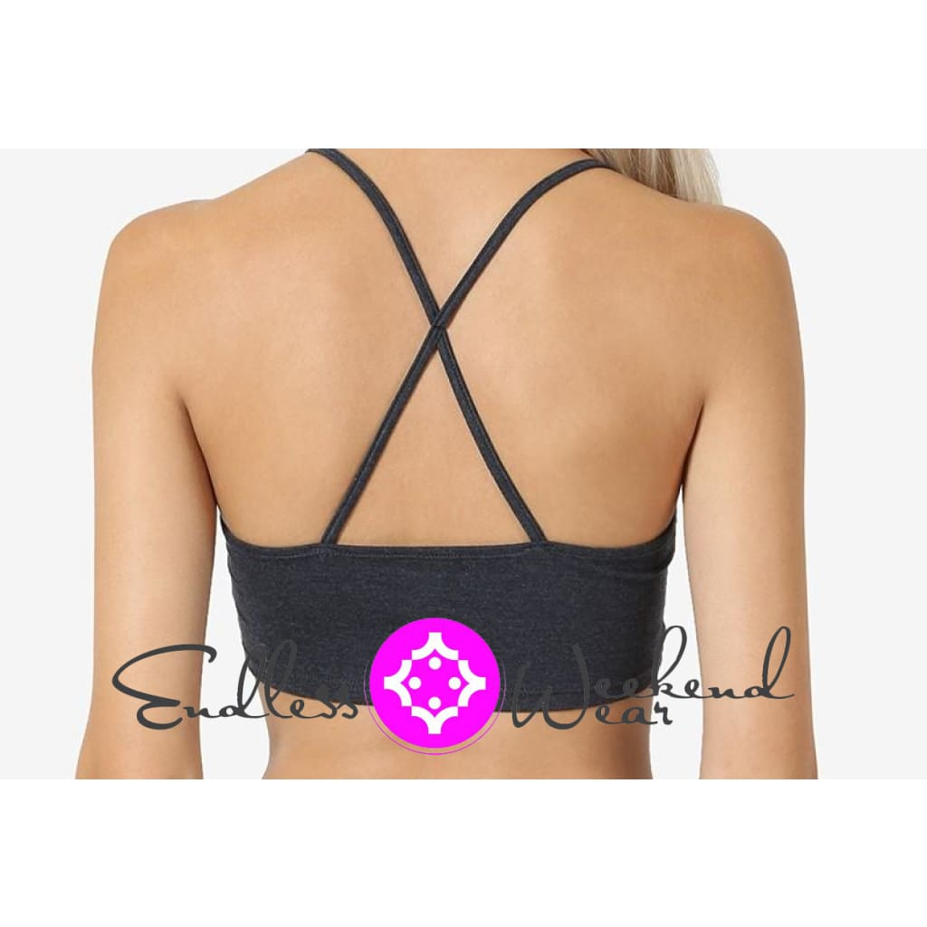 8268e2f38a28f9 Endless Weekend Wear - Black Criss Cross Back Detailed Seamless Bralette