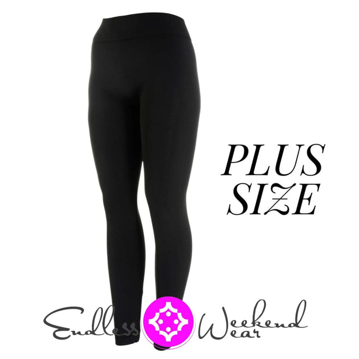 Black Curvy Seamless Full Length Leggings - Bottoms