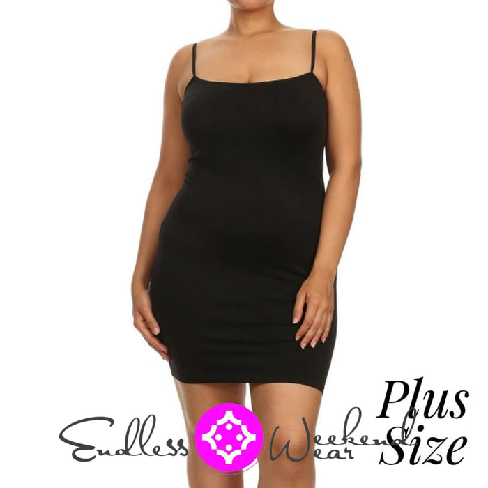 Black Spaghetti Strap Camisole-Curvy - Dress