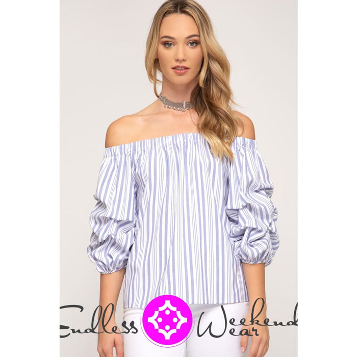 Blue Bubble Sleeve Off the Shoulder Top - Tops
