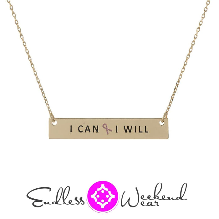 Breast Cancer Awareness I Can & I Will Necklace - Necklace