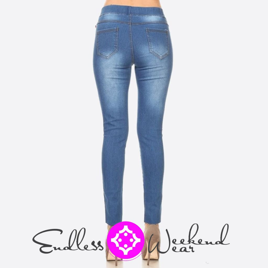 Classic Distressed Skinny Jeggings. - Bottoms