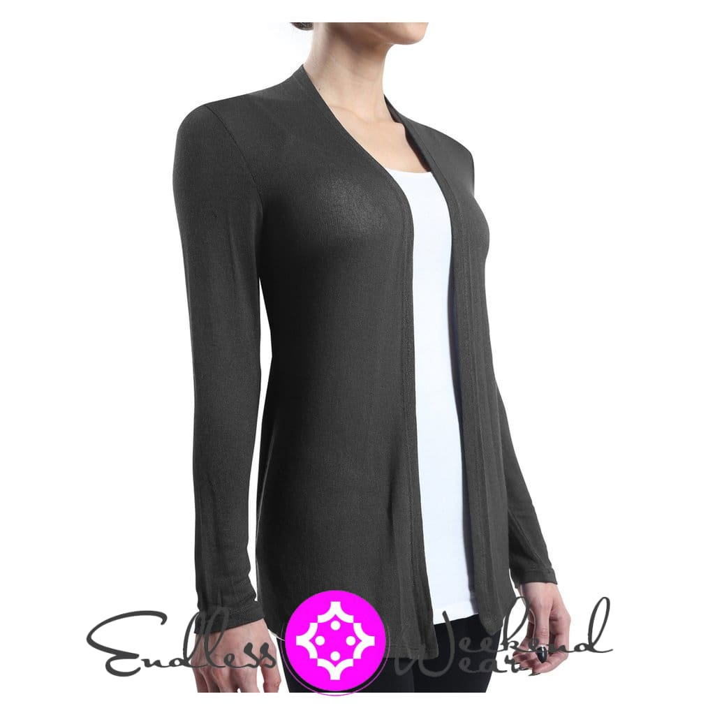 Curvy Size Charcoal Long Sleeve Open Cardigan - Tops