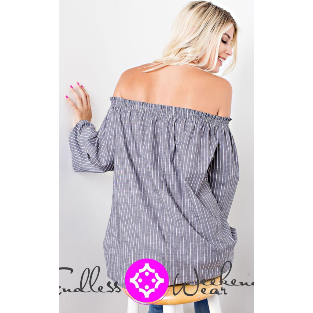 Grey & White Striped Off The Shoulder Top - Tops