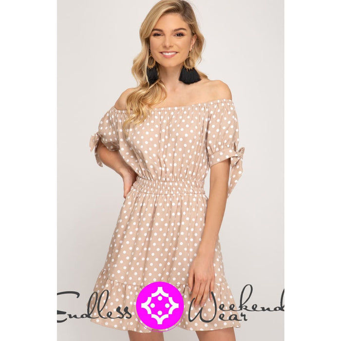 Light Taupe Off the Shoulder Polka Dot Dress - Dress