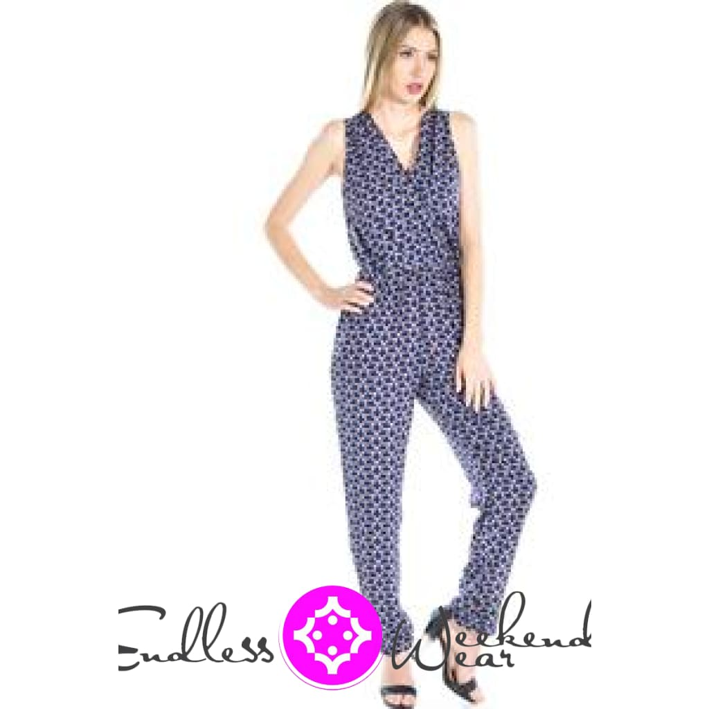 Navy Blue & Black Jumpsuit - Jumpsuit