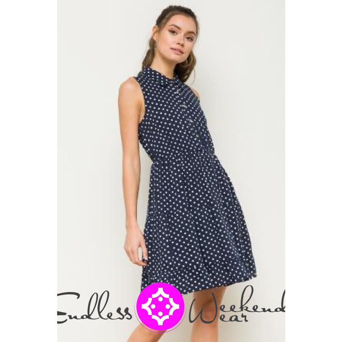 Navy & White Polka Dot Dress - Dress