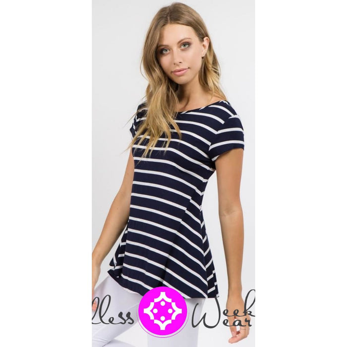 Navy & White Stripe Top - Tops