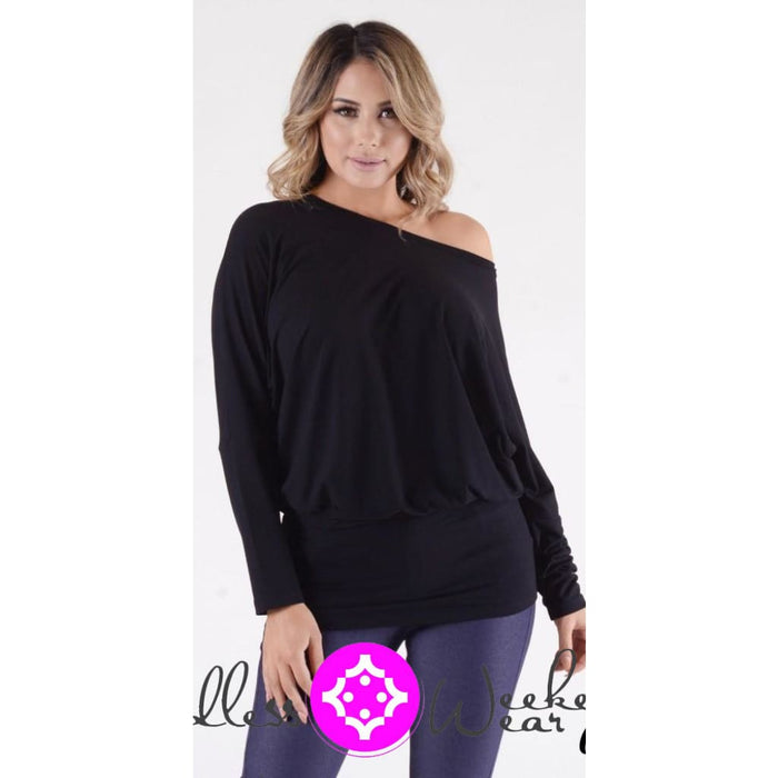 Off Shoulder Black Top - Tops