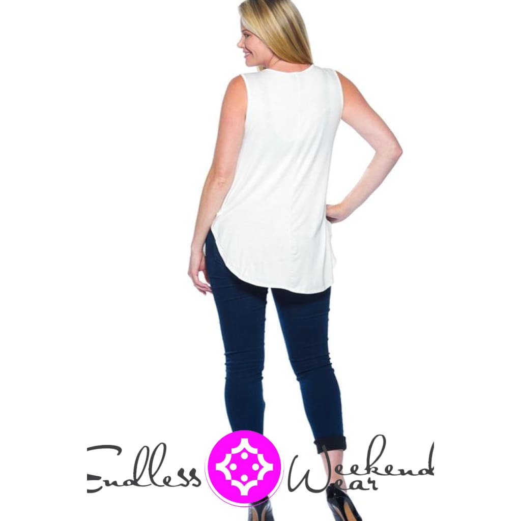 Sleeveless White Top- Curvy - Tops