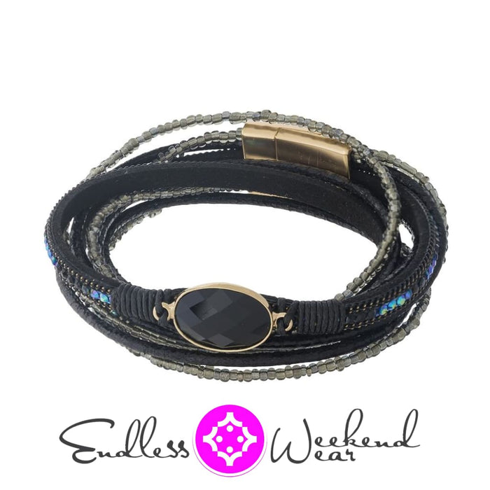 Trendy Black Leather Wrap Bracelet - Bracelets