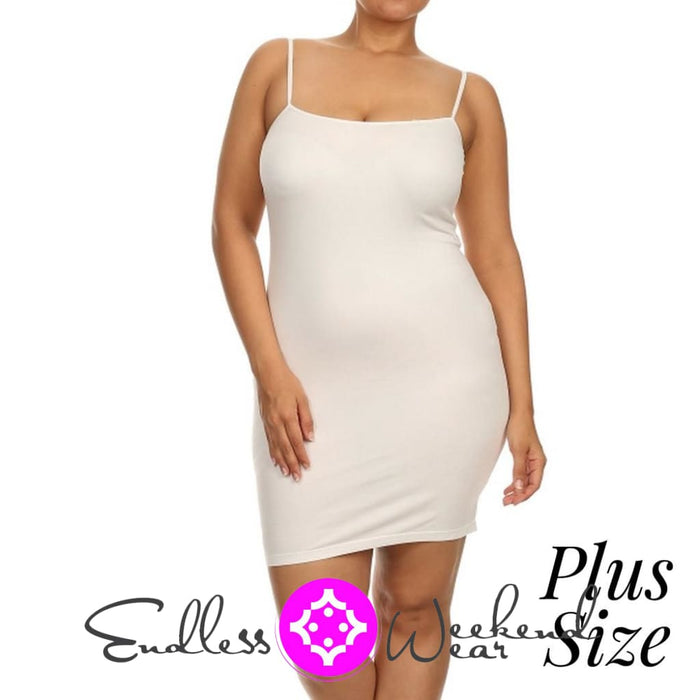 White Spaghetti Strap Camisole- Curvy - Dress