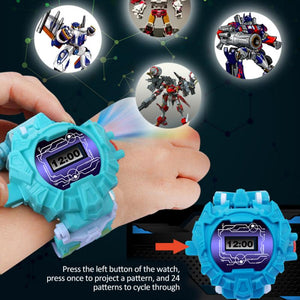 3-in-1 Transforming Robot Projection Watch